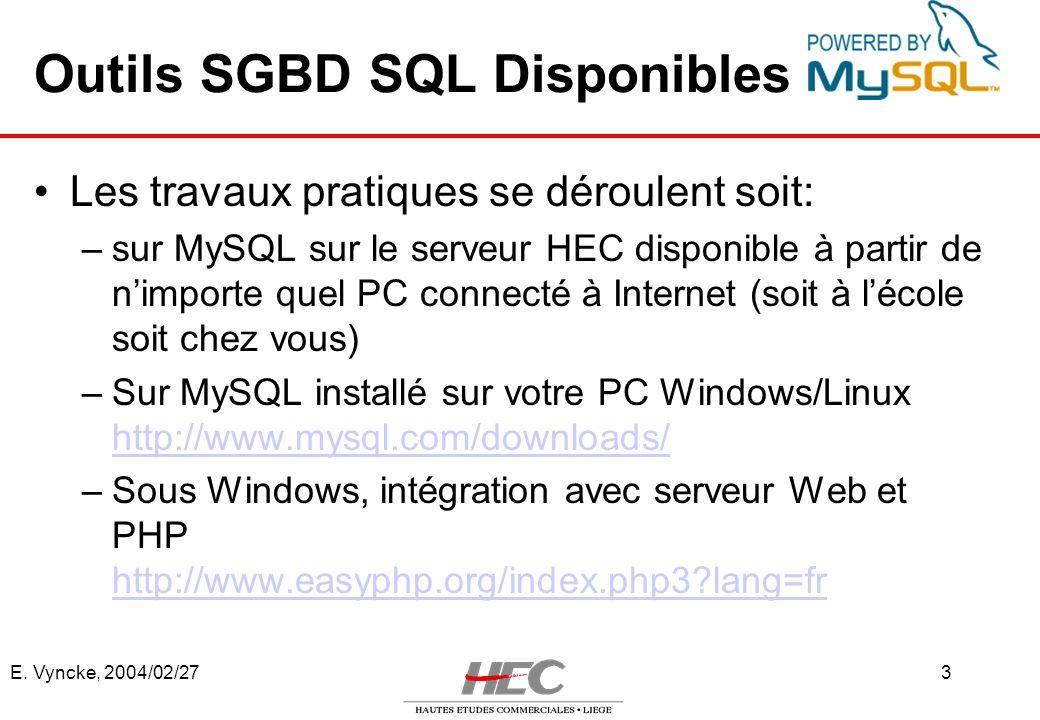 E. Vyncke, 2004/02/273 Outils SGBD SQL Disponibles Les travaux pratiques se déroulent soit: –sur MySQL sur le serveur HEC disponible à partir de nimpo