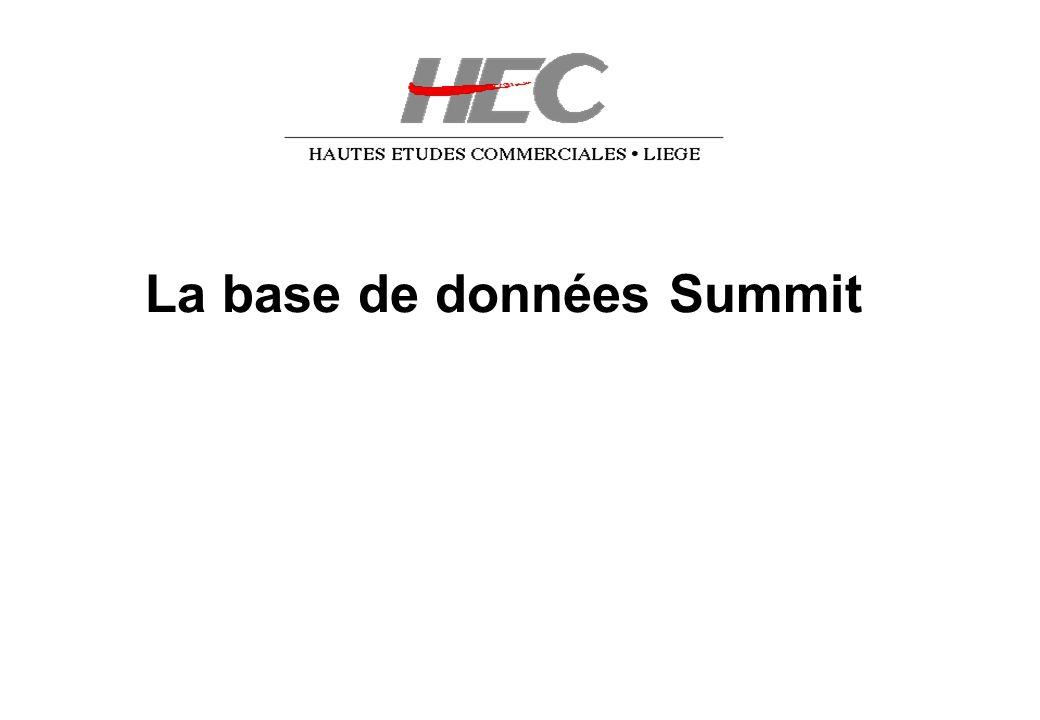 La base de données Summit