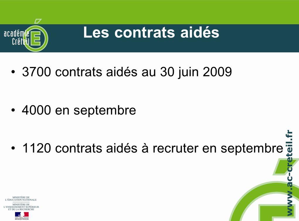 Les contrats aidés 3700 contrats aidés au 30 juin 2009 4000 en septembre 1120 contrats aidés à recruter en septembre