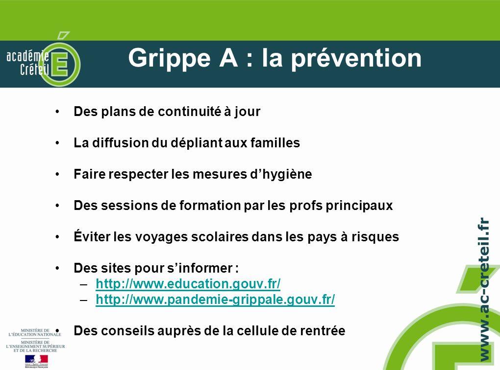 Grippe A : la prévention Des plans de continuité à jour La diffusion du dépliant aux familles Faire respecter les mesures dhygiène Des sessions de for