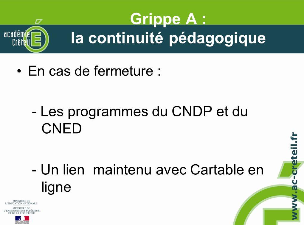 Grippe A : la continuité pédagogique En cas de fermeture : - Les programmes du CNDP et du CNED - Un lien maintenu avec Cartable en ligne
