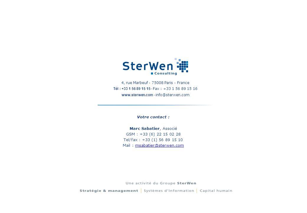 4, rue Marbeuf - 75008 Paris - France Tél : +33 1 56 89 15 15 - Fax : +33 1 56 89 15 16 www.sterwen.com - info@sterwen.com Votre contact : Marc Sabati