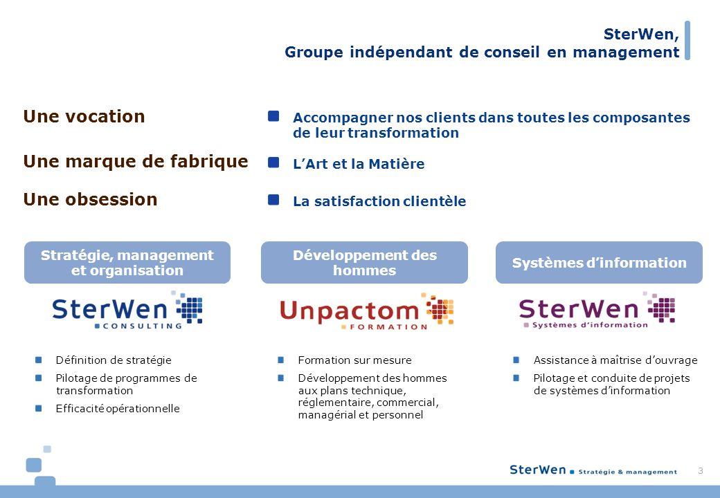 SterWen, Groupe indépendant de conseil en management 3 Accompagner nos clients dans toutes les composantes de leur transformation LArt et la Matière L