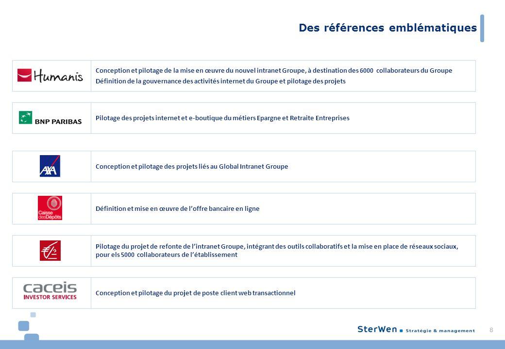 Des références emblématiques 8 Conception et pilotage des projets liés au Global Intranet Groupe Définition et mise en œuvre de loffre bancaire en lig