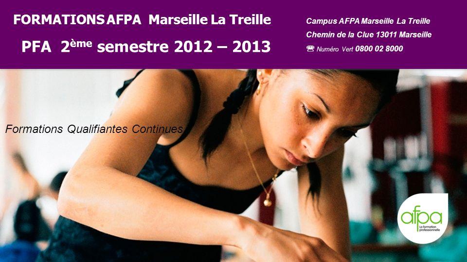 FORMATIONS AFPA Marseille La Treille PFA 2 ème semestre 2012 – 2013 Campus AFPA Marseille La Treille Chemin de la Clue 13011 Marseille Numéro Vert 080
