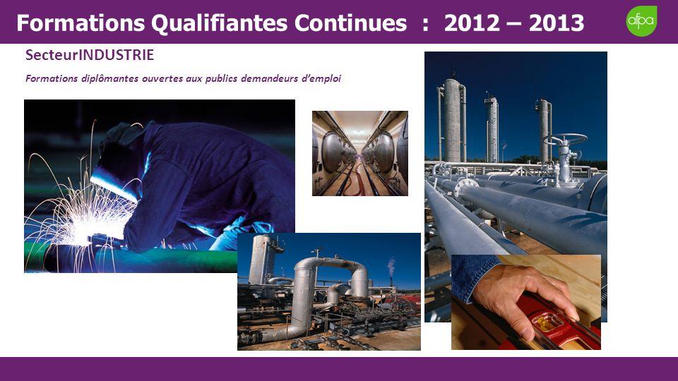 SecteurINDUSTRIE Formations diplômantes ouvertes aux publics demandeurs demploi Formations Qualifiantes Continues : 2012 – 2013
