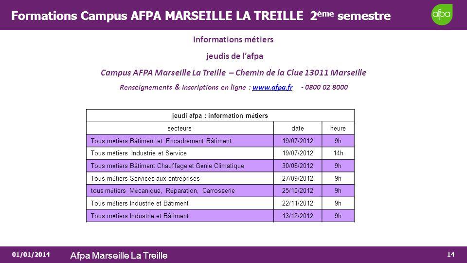 01/01/2014 Afpa Marseille La Treille 14 Formations Campus AFPA MARSEILLE LA TREILLE 2 ème semestre Informations métiers jeudis de lafpa Campus AFPA Ma