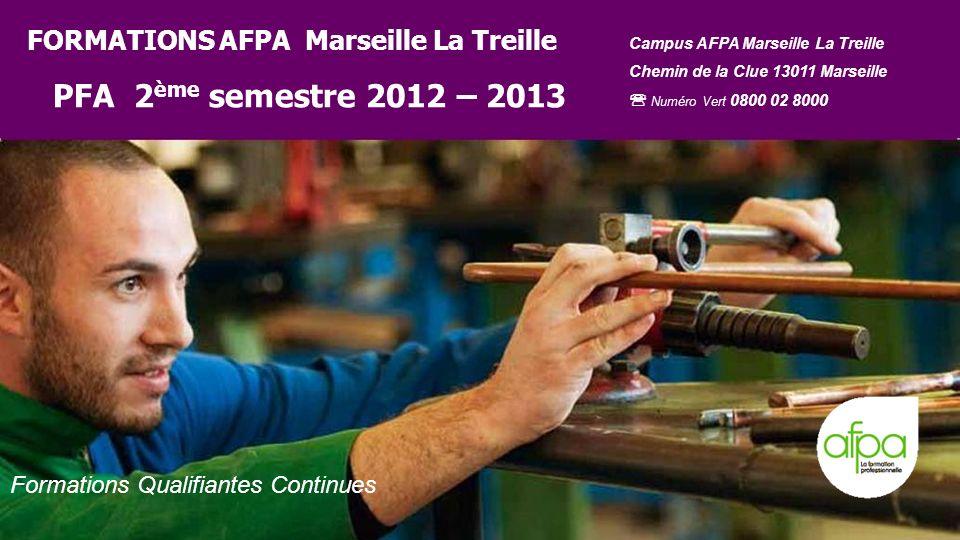 201/01/2014 Formations Qualifiantes Continues FORMATIONS AFPA Marseille La Treille PFA 2 ème semestre 2012 – 2013 Campus AFPA Marseille La Treille Che