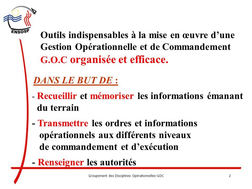 Groupement des Disciplines Opérationnelles- GOC 1 Département des formations initiales et continues Les Outils graphiques 1005