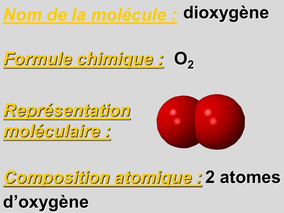 Nom de la molécule : Composition atomique : Formule chimique : O2O2O2O2 2 atomes doxygène Représentation moléculaire : dioxygène dioxygène