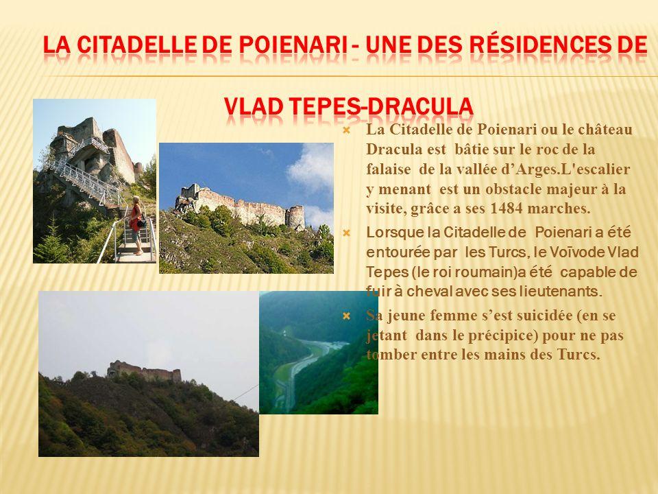 La Citadelle de Poienari ou le château Dracula est bâtie sur le roc de la falaise de la vallée dArges.L'escalier y menant est un obstacle majeur à la