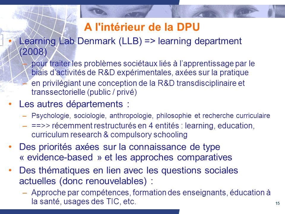 15 A l intérieur de la DPU Learning Lab Denmark (LLB) => learning department (2008) –pour traiter les problèmes sociétaux liés à lapprentissage par le biais dactivités de R&D expérimentales, axées sur la pratique –en privilégiant une conception de la R&D transdisciplinaire et transsectorielle (public / privé) Les autres départements : –Psychologie, sociologie, anthropologie, philosophie et recherche curriculaire –==>> récemment restructurés en 4 entités : learning, education, curriculum research & compulsory schooling Des priorités axées sur la connaissance de type « evidence-based » et les approches comparatives Des thématiques en lien avec les questions sociales actuelles (donc renouvelables) : –Approche par compétences, formation des enseignants, éducation à la santé, usages des TIC, etc.