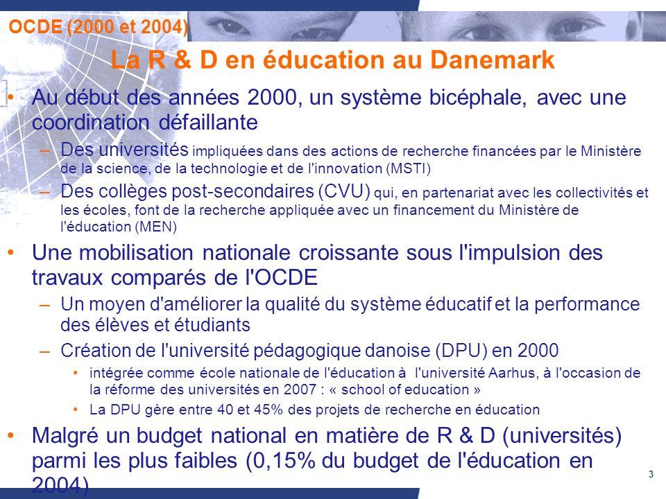 3 La R & D en éducation au Danemark Au début des années 2000, un système bicéphale, avec une coordination défaillante –Des universités impliquées dans des actions de recherche financées par le Ministère de la science, de la technologie et de l innovation (MSTI) –Des collèges post-secondaires (CVU) qui, en partenariat avec les collectivités et les écoles, font de la recherche appliquée avec un financement du Ministère de l éducation (MEN) Une mobilisation nationale croissante sous l impulsion des travaux comparés de l OCDE –Un moyen d améliorer la qualité du système éducatif et la performance des élèves et étudiants –Création de l université pédagogique danoise (DPU) en 2000 intégrée comme école nationale de l éducation à l université Aarhus, à l occasion de la réforme des universités en 2007 : « school of education » La DPU gère entre 40 et 45% des projets de recherche en éducation Malgré un budget national en matière de R & D (universités) parmi les plus faibles (0,15% du budget de l éducation en 2004) OCDE (2000 et 2004)