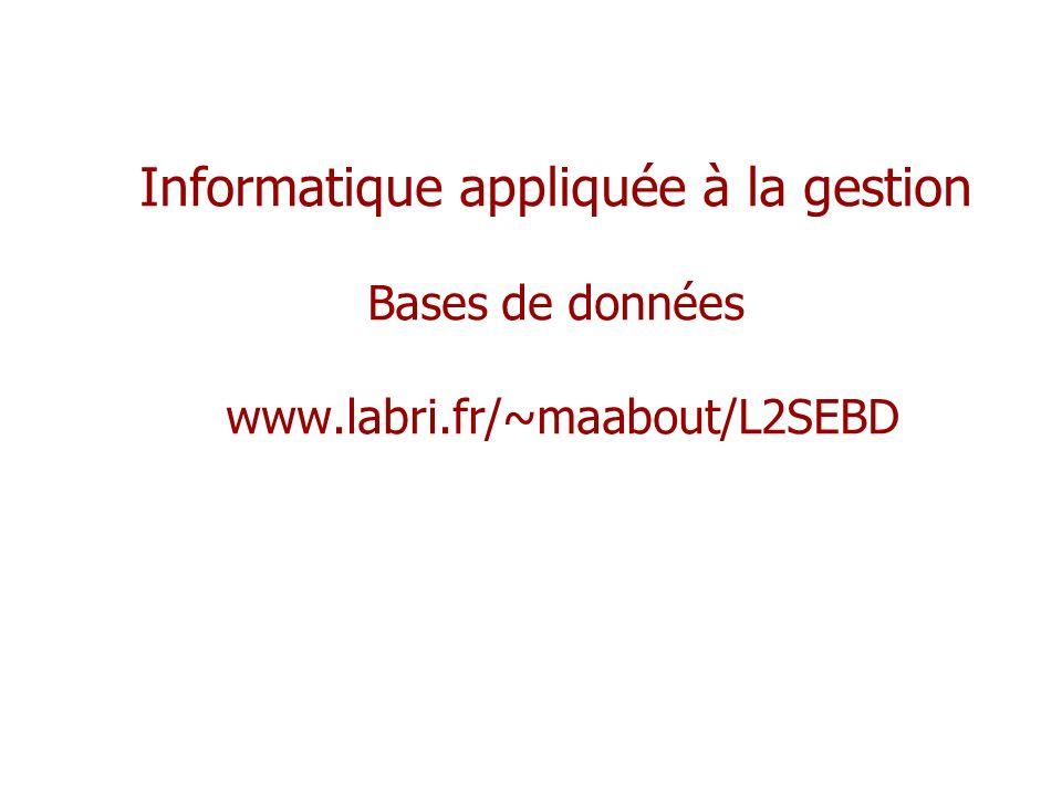 Informatique appliquée à la gestion Bases de données www.labri.fr/~maabout/L2SEBD