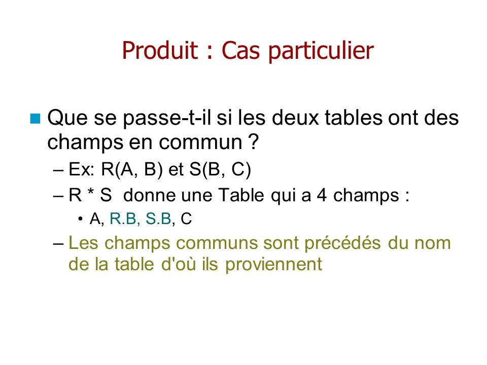 Produit : Cas particulier Que se passe-t-il si les deux tables ont des champs en commun ? –Ex: R(A, B) et S(B, C) –R * S donne une Table qui a 4 champ