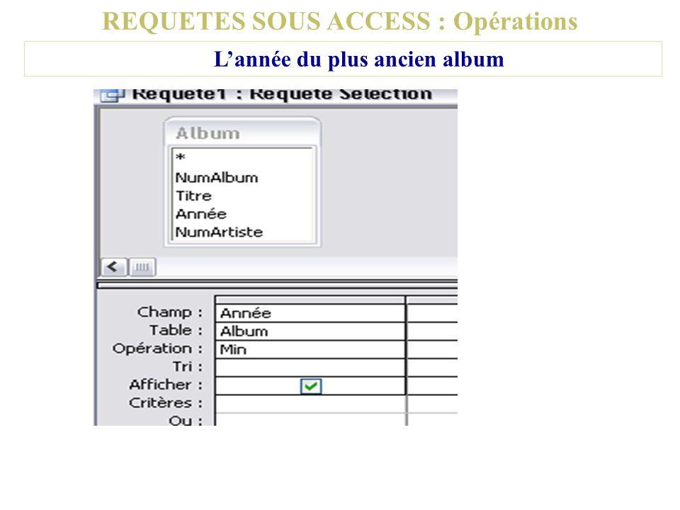 REQUETES SOUS ACCESS : Opérations Lannée du plus ancien album