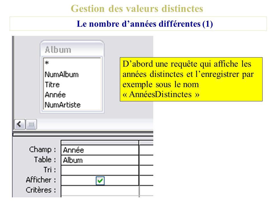 Gestion des valeurs distinctes Le nombre dannées différentes (1) Dabord une requête qui affiche les années distinctes et lenregistrer par exemple sous