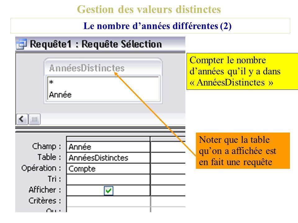 Gestion des valeurs distinctes Le nombre dannées différentes (2) Compter le nombre dannées quil y a dans « AnnéesDistinctes » Noter que la table quon