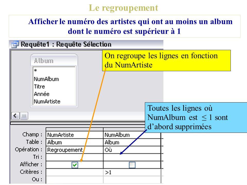 Le regroupement Afficher le numéro des artistes qui ont au moins un album dont le numéro est supérieur à 1 On regroupe les lignes en fonction du NumAr