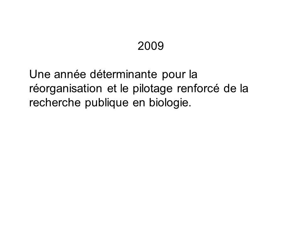 2009 Une année déterminante pour la réorganisation et le pilotage renforcé de la recherche publique en biologie.
