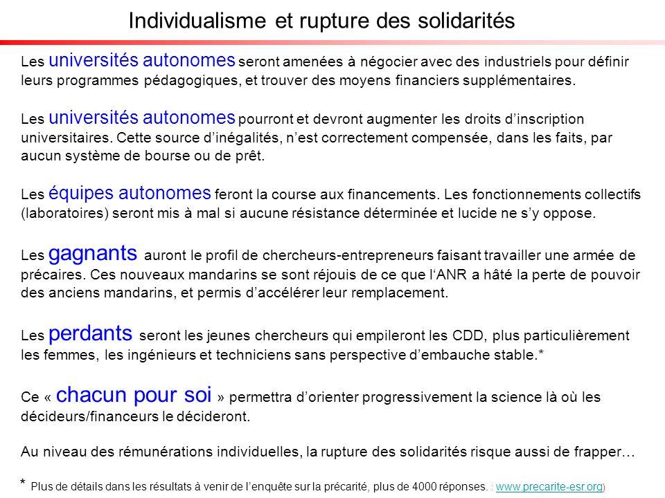 Individualisme et rupture des solidarités Les universités autonomes seront amenées à négocier avec des industriels pour définir leurs programmes pédagogiques, et trouver des moyens financiers supplémentaires.