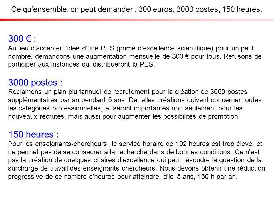 Ce quensemble, on peut demander : 300 euros, 3000 postes, 150 heures.