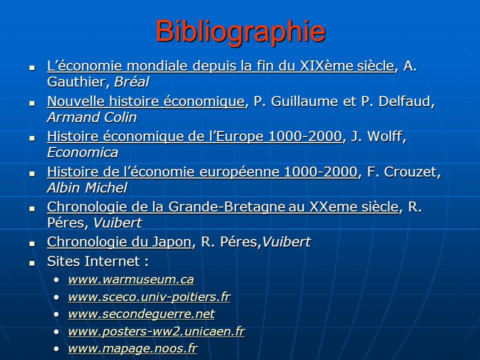 Bibliographie Léconomie mondiale depuis la fin du XIXème siècle, A. Gauthier, Bréal Léconomie mondiale depuis la fin du XIXème siècle, A. Gauthier, Br