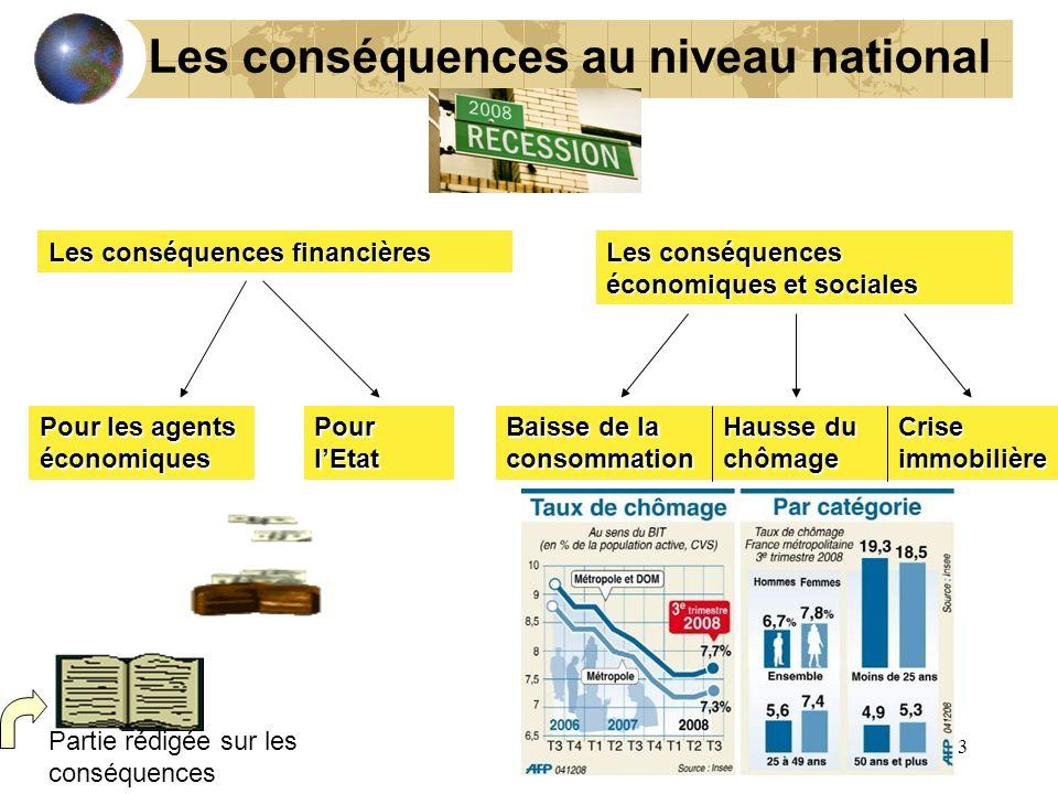 13 Les conséquences au niveau national Les conséquences financières Les conséquences économiques et sociales Pour les agents économiques Pour lEtat Ba