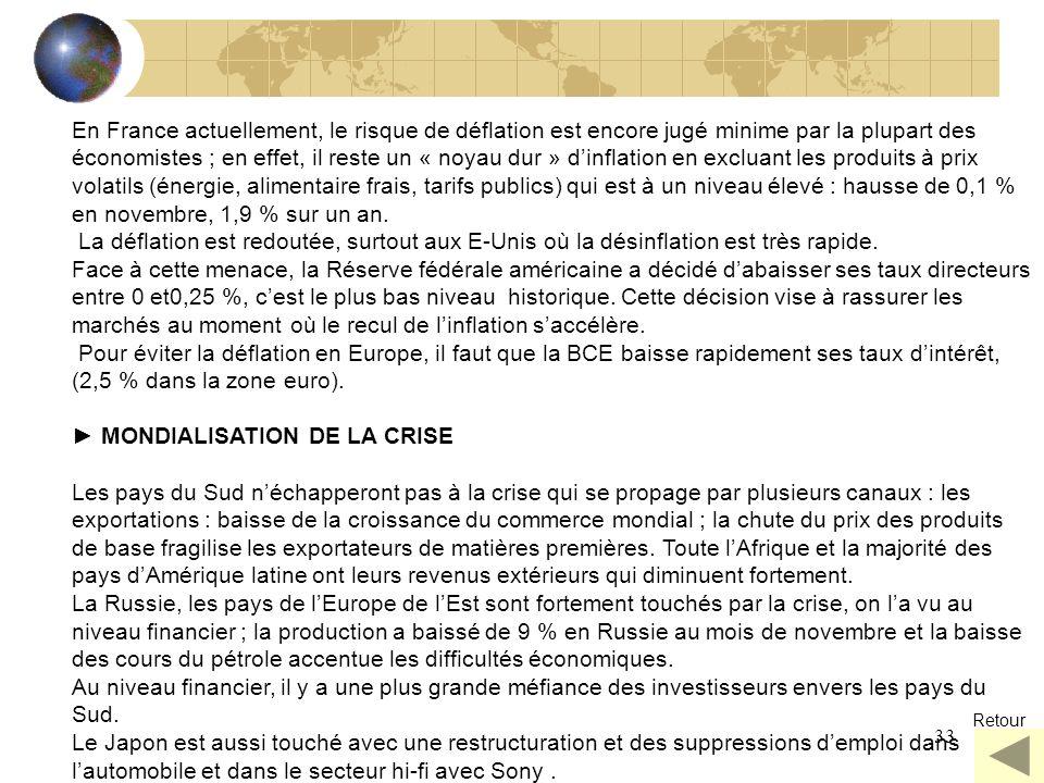 33 En France actuellement, le risque de déflation est encore jugé minime par la plupart des économistes ; en effet, il reste un « noyau dur » dinflati