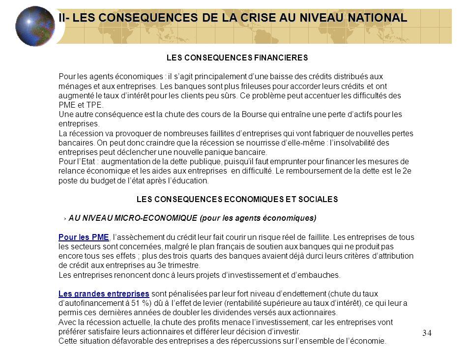 34 II- LES CONSEQUENCES DE LA CRISE AU NIVEAU NATIONAL LES CONSEQUENCES FINANCIERES Pour les agents économiques : il sagit principalement dune baisse