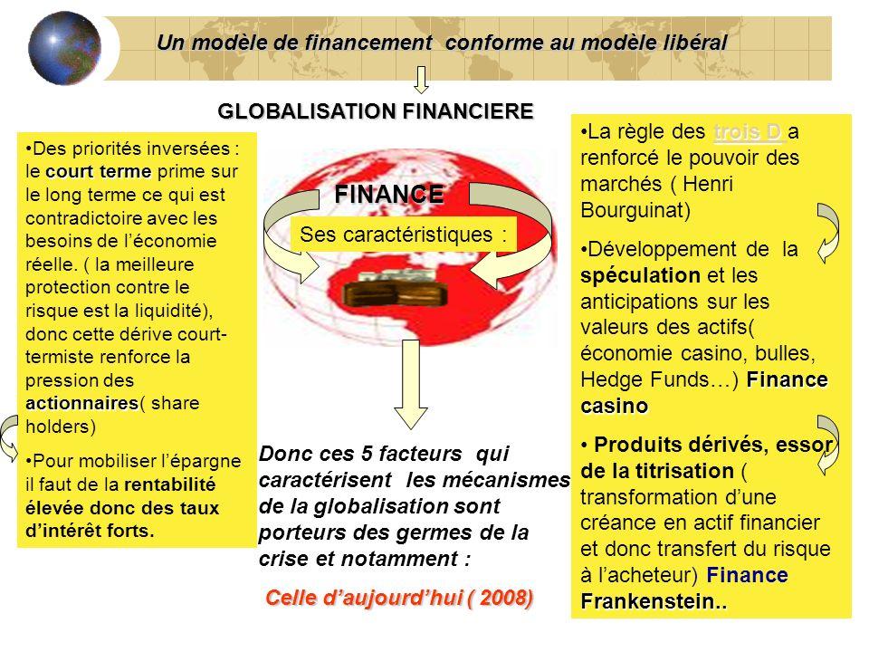 5 FINANCE GLOBALISATION FINANCIERE Donc ces 5 facteurs qui caractérisent les mécanismes de la globalisation sont porteurs des germes de la crise et no