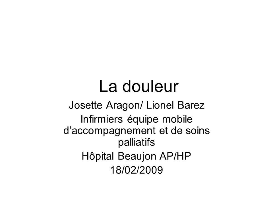 La douleur Josette Aragon/ Lionel Barez Infirmiers équipe mobile daccompagnement et de soins palliatifs Hôpital Beaujon AP/HP 18/02/2009