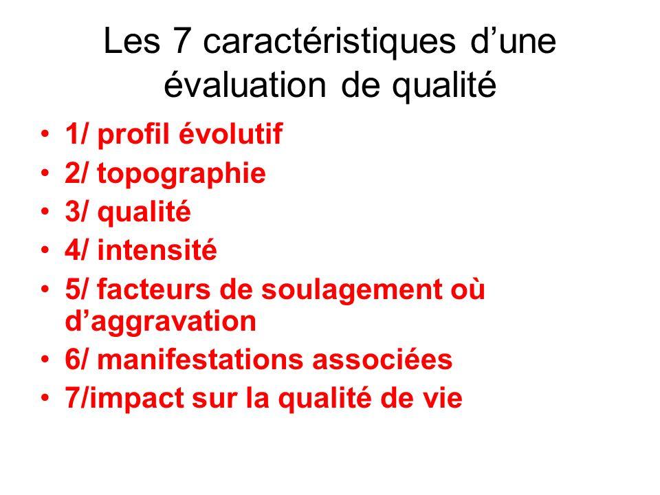 Les 7 caractéristiques dune évaluation de qualité 1/ profil évolutif 2/ topographie 3/ qualité 4/ intensité 5/ facteurs de soulagement où daggravation