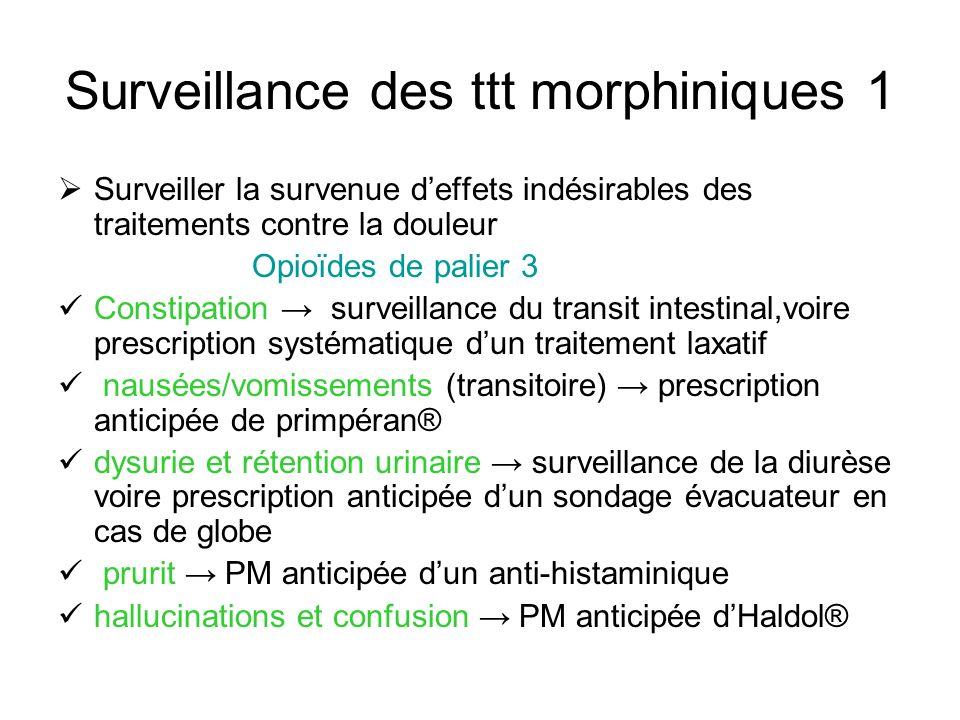 Surveillance des ttt morphiniques 1 Surveiller la survenue deffets indésirables des traitements contre la douleur Opioïdes de palier 3 Constipation su