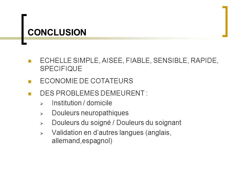 CONCLUSION ECHELLE SIMPLE, AISEE, FIABLE, SENSIBLE, RAPIDE, SPECIFIQUE ECONOMIE DE COTATEURS DES PROBLEMES DEMEURENT : Institution / domicile Douleurs
