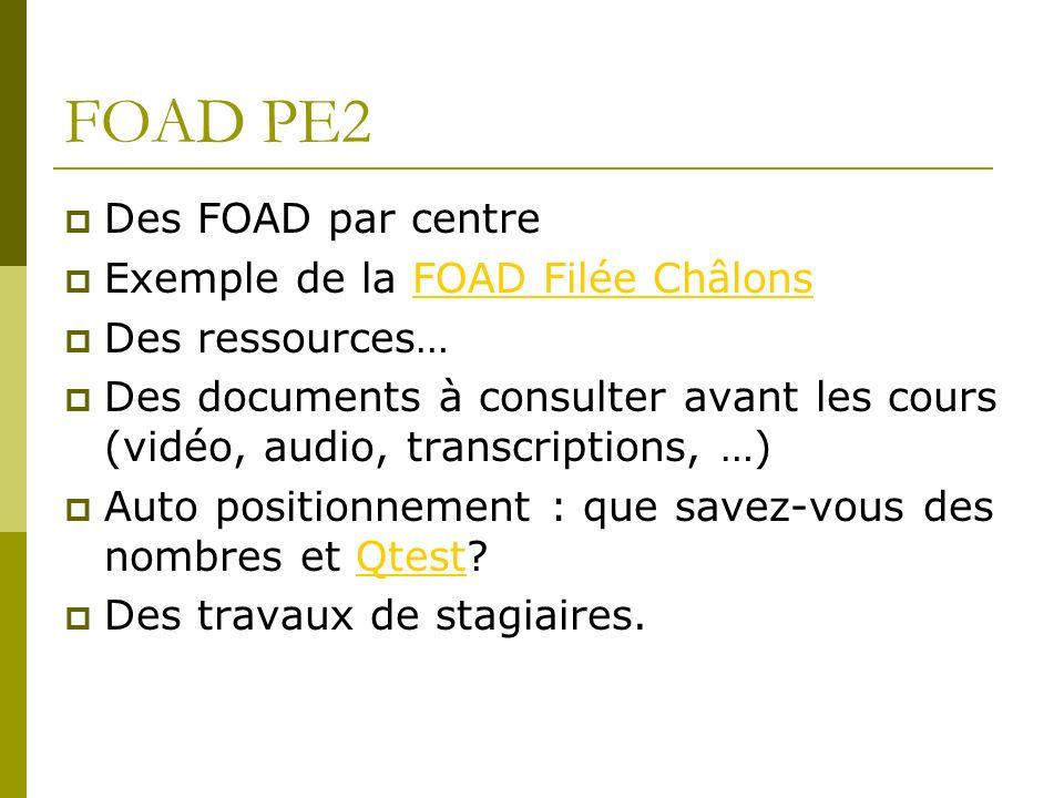 FOAD PE2 Des FOAD par centre Exemple de la FOAD Filée ChâlonsFOAD Filée Châlons Des ressources… Des documents à consulter avant les cours (vidéo, audi