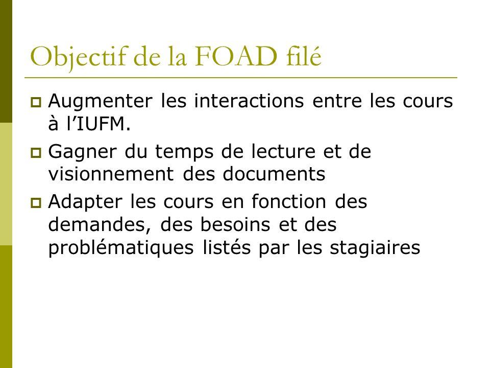Objectif de la FOAD filé Augmenter les interactions entre les cours à lIUFM. Gagner du temps de lecture et de visionnement des documents Adapter les c