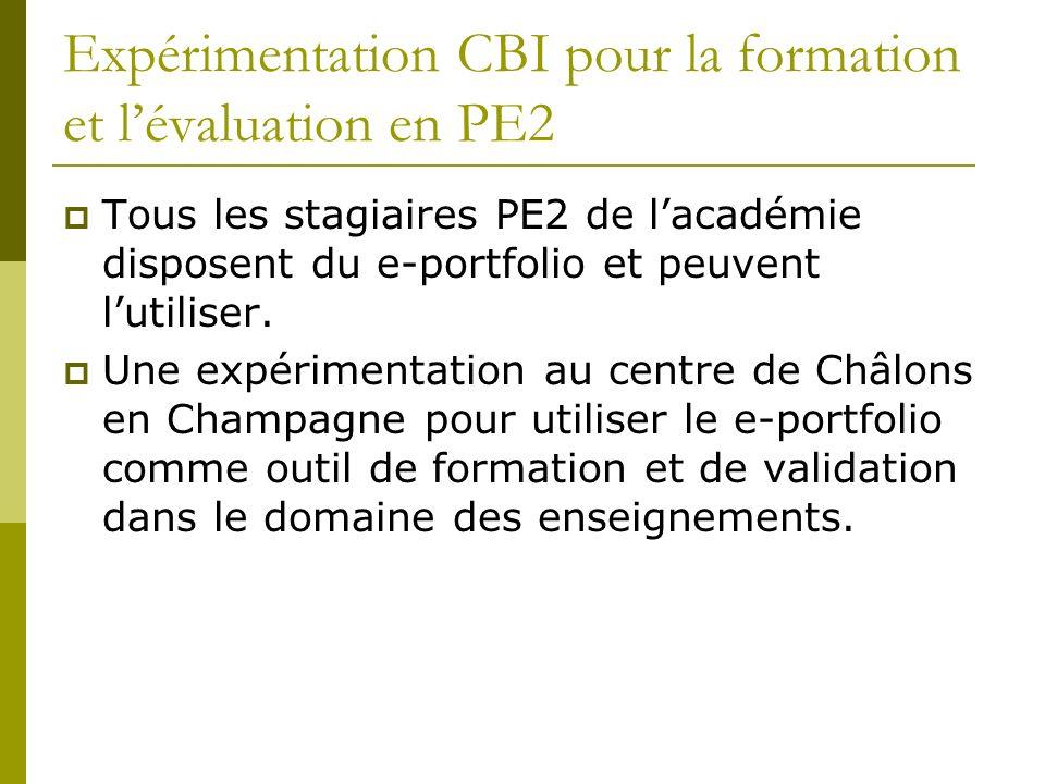 Expérimentation CBI pour la formation et lévaluation en PE2 Tous les stagiaires PE2 de lacadémie disposent du e-portfolio et peuvent lutiliser. Une ex