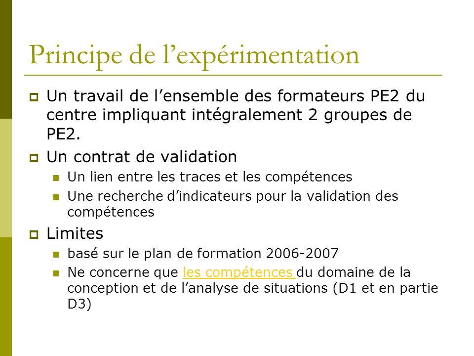 Principe de lexpérimentation Un travail de lensemble des formateurs PE2 du centre impliquant intégralement 2 groupes de PE2. Un contrat de validation