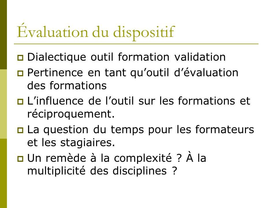 Évaluation du dispositif Dialectique outil formation validation Pertinence en tant quoutil dévaluation des formations Linfluence de loutil sur les for
