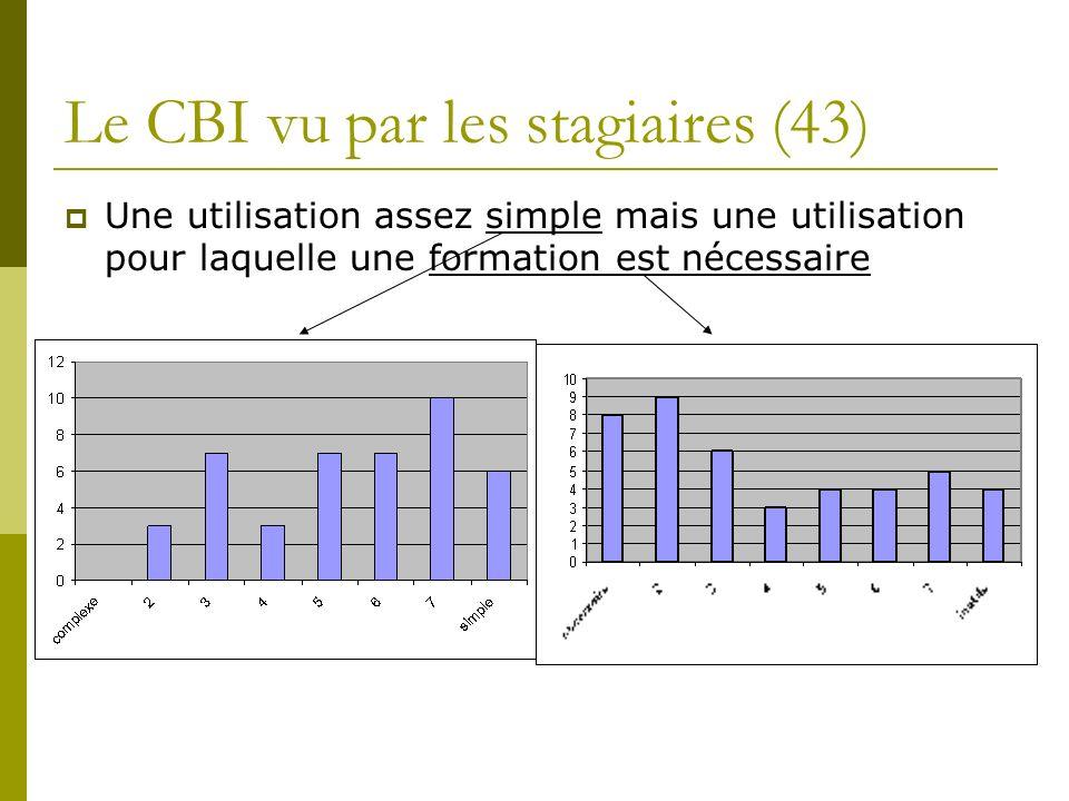 Le CBI vu par les stagiaires (43) Une utilisation assez simple mais une utilisation pour laquelle une formation est nécessaire