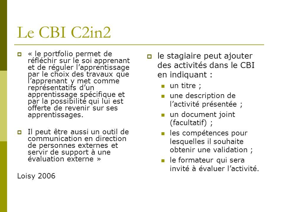 Le CBI C2in2 « le portfolio permet de réfléchir sur le soi apprenant et de réguler lapprentissage par le choix des travaux que lapprenant y met comme