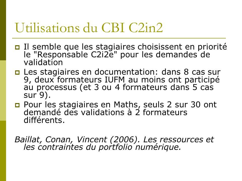 Utilisations du CBI C2in2 Il semble que les stagiaires choisissent en priorité le