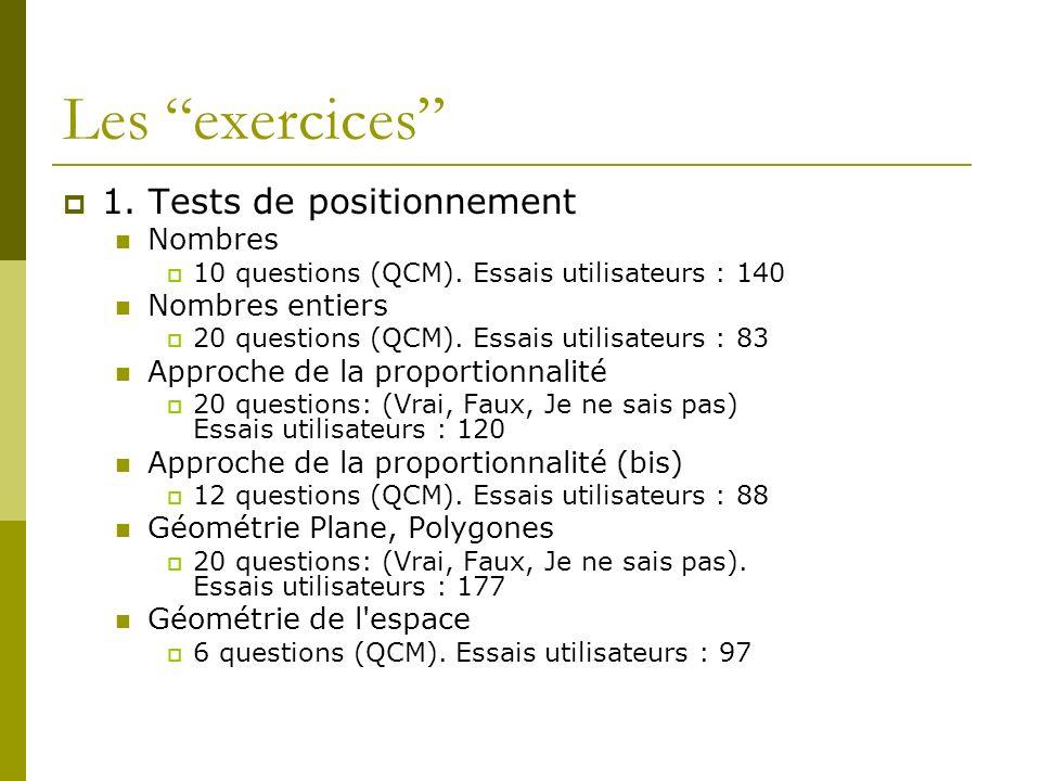 Les exercices 1. Tests de positionnement Nombres 10 questions (QCM). Essais utilisateurs : 140 Nombres entiers 20 questions (QCM). Essais utilisateurs