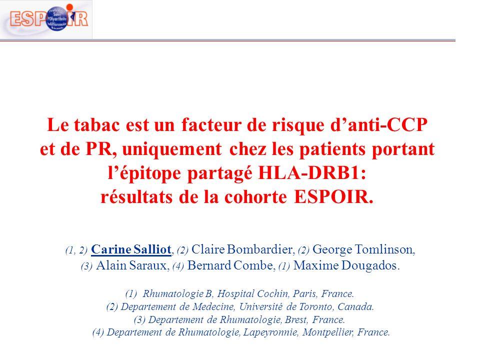 Le tabac est un facteur de risque danti-CCP et de PR, uniquement chez les patients portant lépitope partagé HLA-DRB1: résultats de la cohorte ESPOIR.