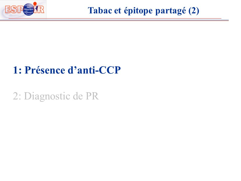 1: Présence danti-CCP 2: Diagnostic de PR Tabac et épitope partagé (2)
