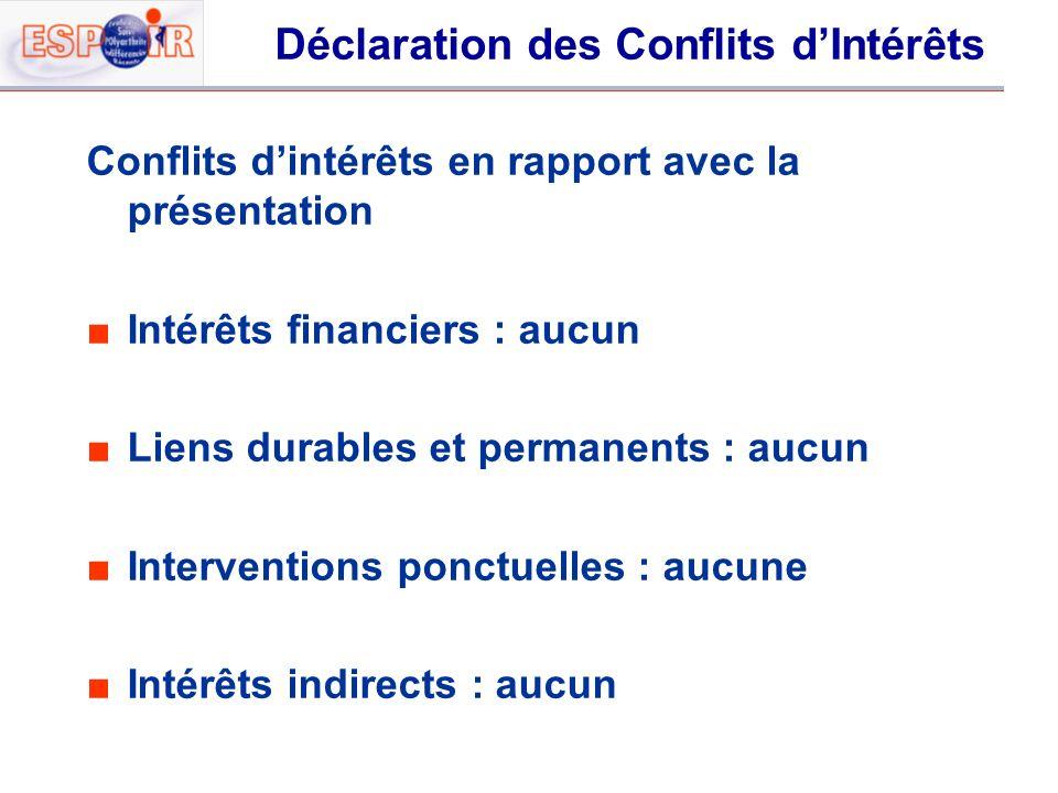Déclaration des Conflits dIntérêts Conflits dintérêts en rapport avec la présentation Intérêts financiers : aucun Liens durables et permanents : aucun