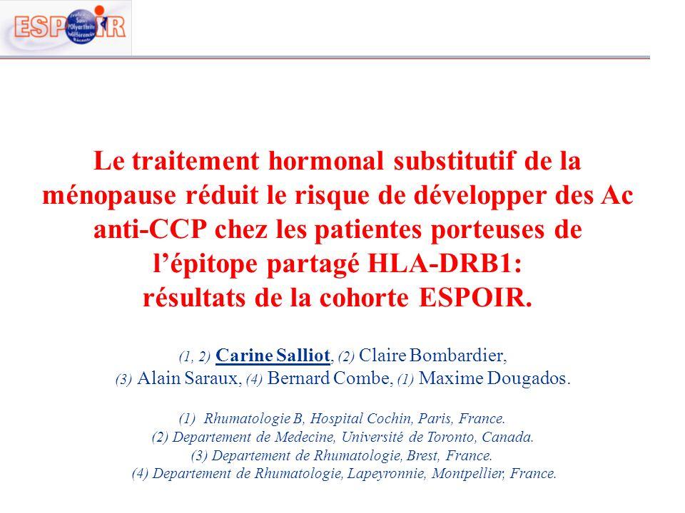 Le traitement hormonal substitutif de la ménopause réduit le risque de développer des Ac anti-CCP chez les patientes porteuses de lépitope partagé HLA
