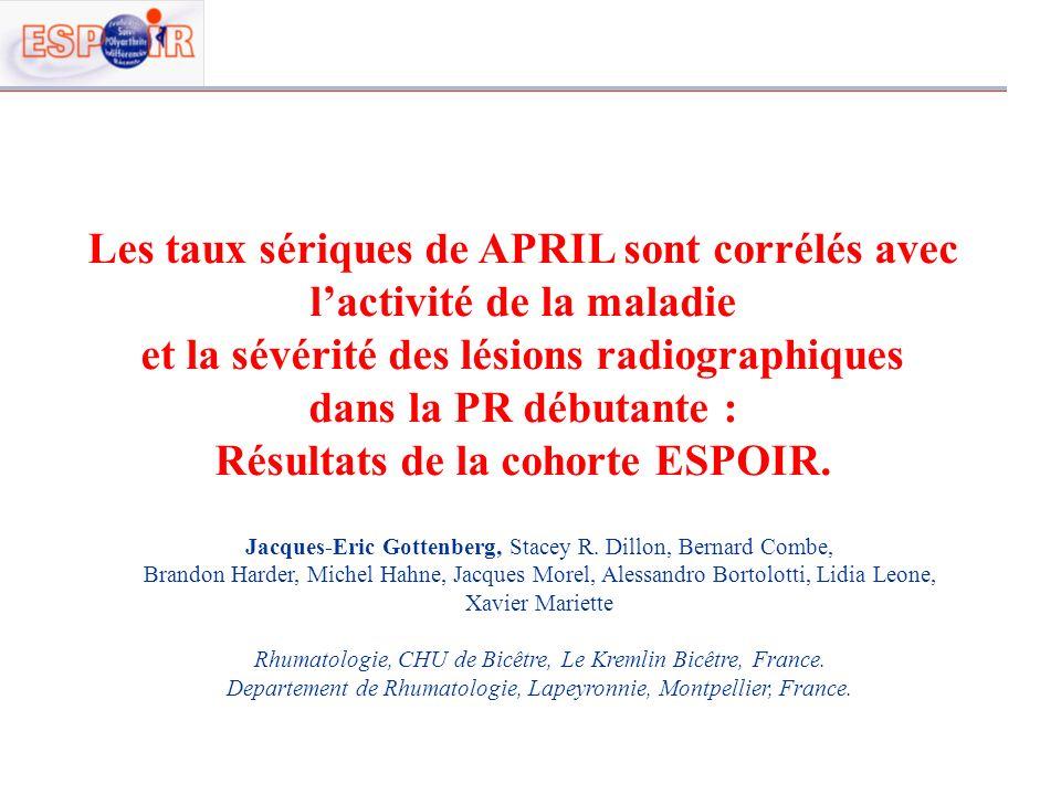 Les taux sériques de APRIL sont corrélés avec lactivité de la maladie et la sévérité des lésions radiographiques dans la PR débutante : Résultats de l