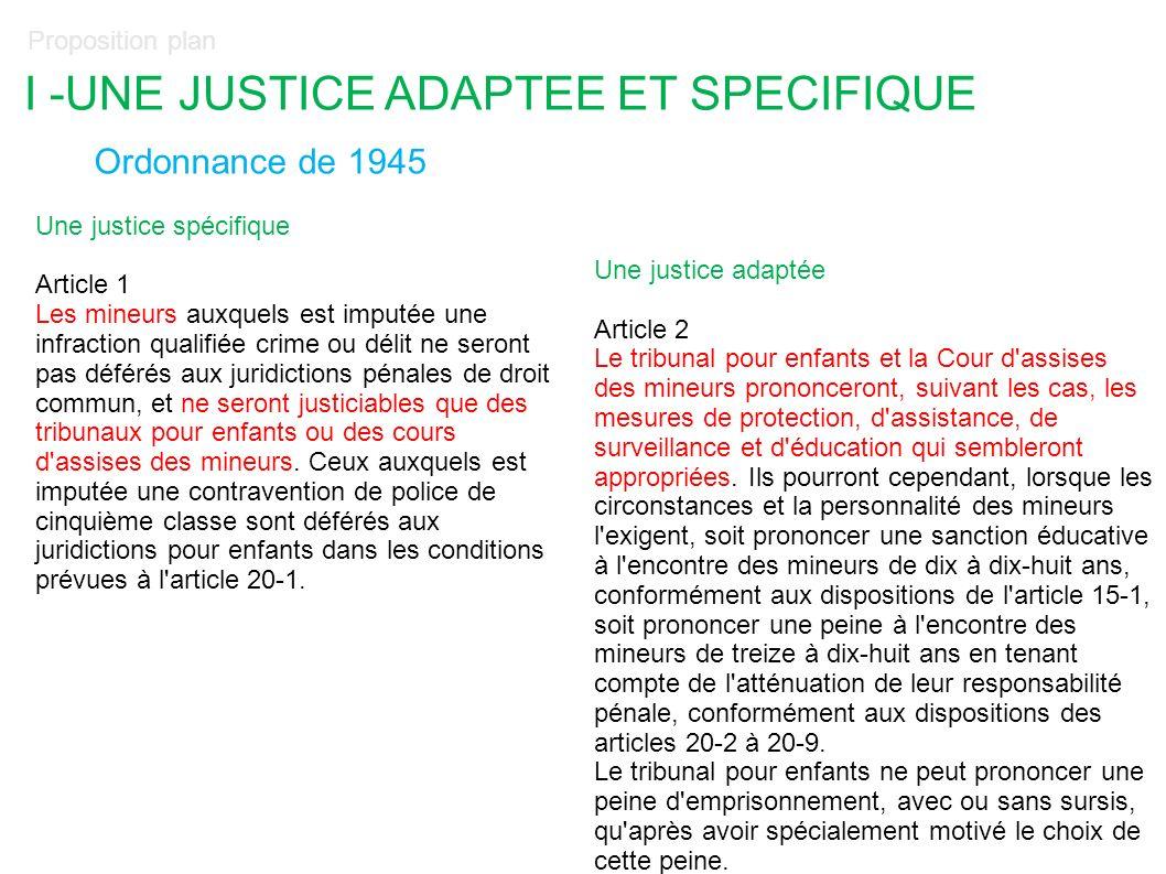 Proposition plan I -UNE JUSTICE ADAPTEE ET SPECIFIQUE Ordonnance de 1945 Une justice spécifique Article 1 Les mineurs auxquels est imputée une infract